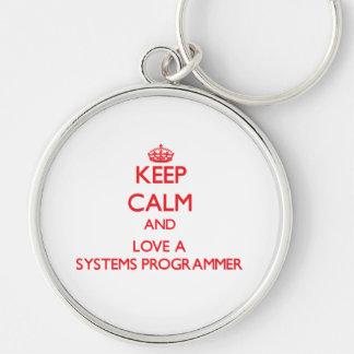 Guarde la calma y ame un programador llavero personalizado