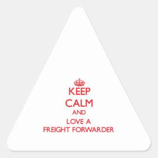 Guarde la calma y ame un promotor de carga etiqueta
