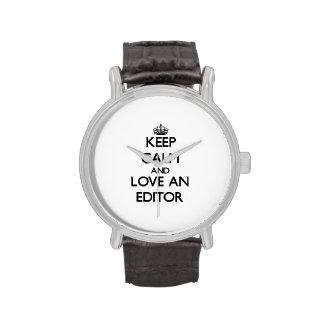 Guarde la calma y ame un redactor reloj