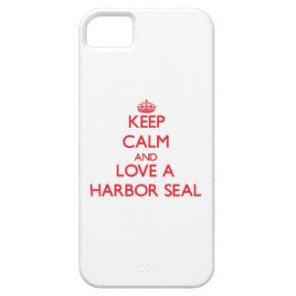 Guarde la calma y ame un sello de puerto iPhone 5 carcasas