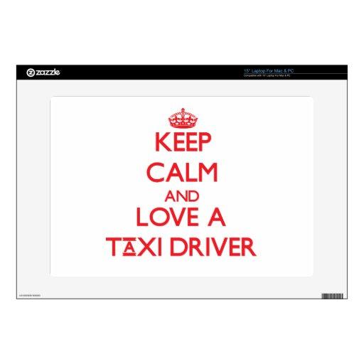 Guarde la calma y ame un taxista portátil calcomanías