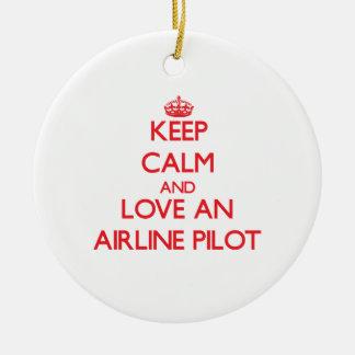Guarde la calma y ame una línea aérea ornamentos de reyes magos