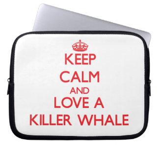 Guarde la calma y ame una orca fundas portátiles