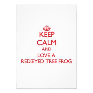 Guarde la calma y ame una rana arbórea Rojo-Observ