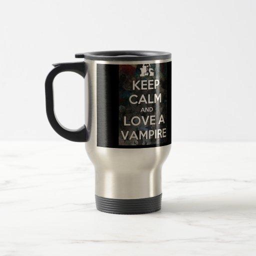 Guarde la calma y ame una taza del viaje o de café