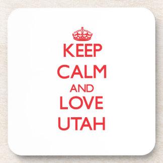 Guarde la calma y ame Utah Posavasos De Bebida