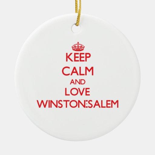 Guarde la calma y ame Winston-Salem Adorno Navideño Redondo De Cerámica