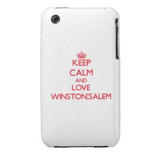 Guarde la calma y ame Winston-Salem iPhone 3 Case-Mate Coberturas