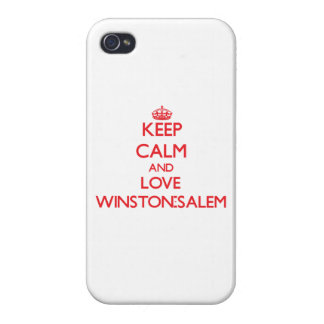 Guarde la calma y ame Winston-Salem iPhone 4/4S Carcasa