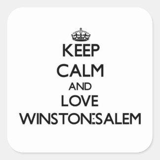 Guarde la calma y ame Winston-Salem Calcomanias Cuadradas