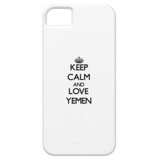 Guarde la calma y ame Yemen iPhone 5 Case-Mate Protectores