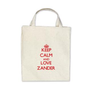 Guarde la calma y ame Zander Bolsas De Mano