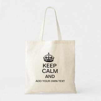Guarde la calma y añada su propio texto bolsa tela barata