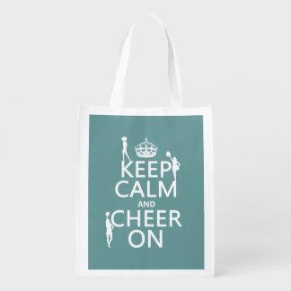 Guarde la calma y anímela en (animadoras) bolsas reutilizables