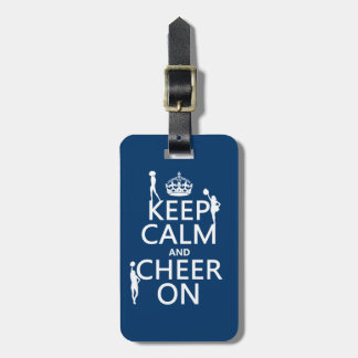 Guarde la calma y anímela en animadoras cualqui etiquetas para equipaje
