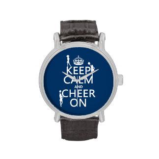 Guarde la calma y anímela en animadoras cualqui relojes de pulsera