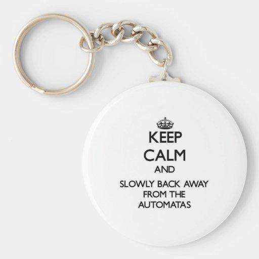 Guarde la calma y apoye lentamente lejos de Automa Llaveros Personalizados