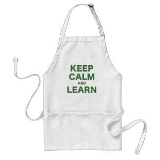 Guarde la calma y aprenda delantal