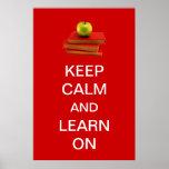 Guarde la calma y aprenda encendido poster