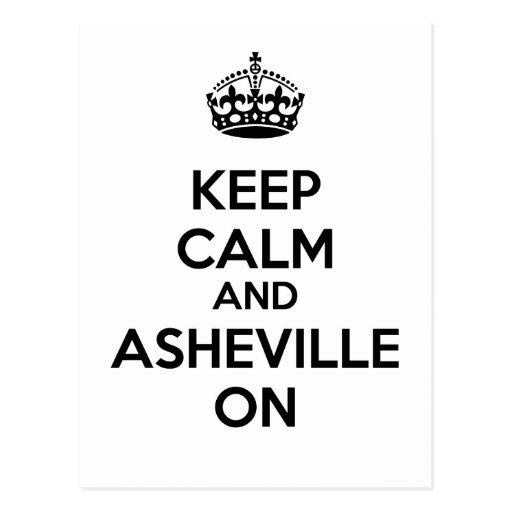 Guarde la calma y Asheville encendido Postal
