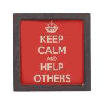 Guarde la calma y ayude a otras caja de recuerdo de calidad