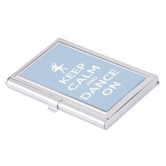 Guarde la calma y baile en azul claro caja de tarjetas de visita