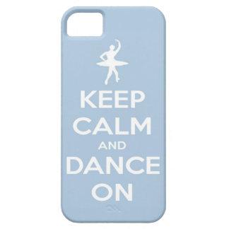 Guarde la calma y baile en azul claro iPhone 5 protector