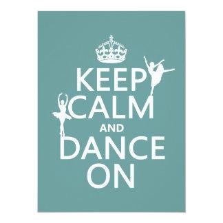 Guarde la calma y baile en (ballet) (todos los invitación 13,9 x 19,0 cm
