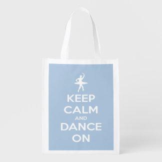 Guarde la calma y baile en bolso personalizado bolsa reutilizable