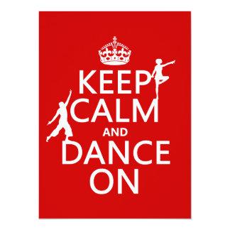 Guarde la calma y baile en (en todos los colores) invitación 13,9 x 19,0 cm