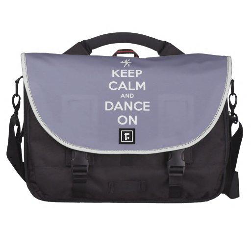 Guarde la calma y baile en gris de la lavanda bolsa de ordenador