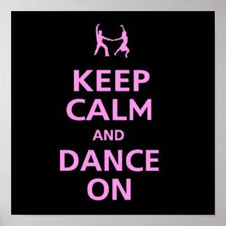 Guarde la calma y baile en los pares de la música  póster