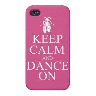 Guarde la calma y baile en rosa de los zapatos de iPhone 4/4S fundas