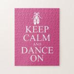 Guarde la calma y baile en rosa de los zapatos de  rompecabezas con fotos
