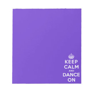 Guarde la calma y baile encendido bloc de papel