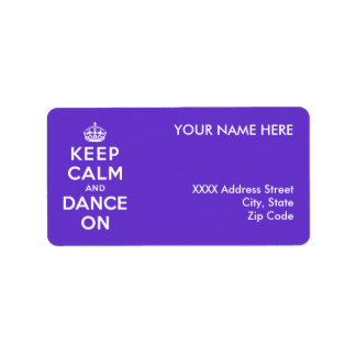 Guarde la calma y baile encendido etiqueta de dirección