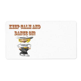 Guarde la calma y baile encendido etiqueta de envío