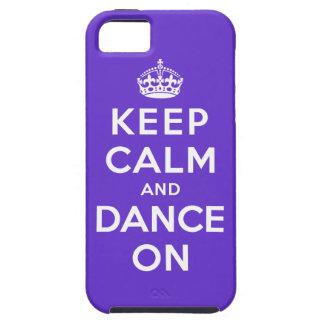 Guarde la calma y baile encendido iPhone 5 funda