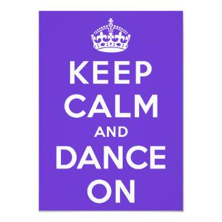 Guarde la calma y baile encendido invitación 11,4 x 15,8 cm
