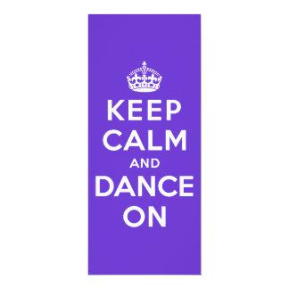 Guarde la calma y baile encendido invitación 10,1 x 23,5 cm