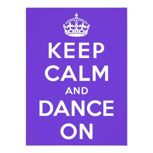 Guarde la calma y baile encendido invitación 13,9 x 19,0 cm