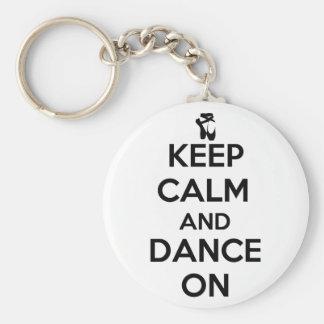 Guarde la calma y baile encendido llaveros