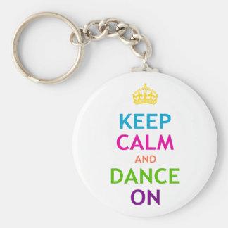 Guarde la calma y baile encendido llavero personalizado