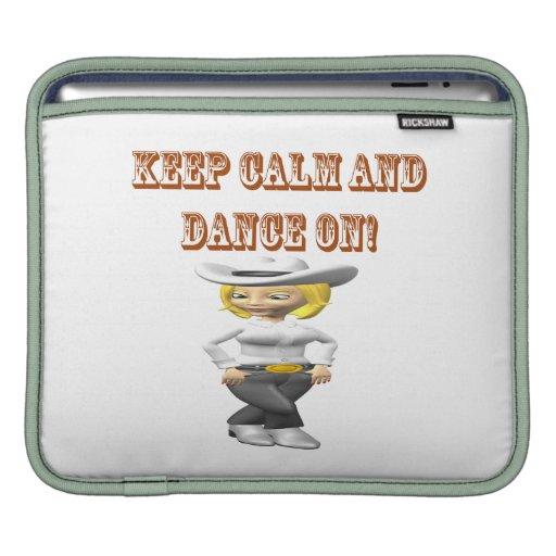 Guarde la calma y baile encendido mangas de iPad