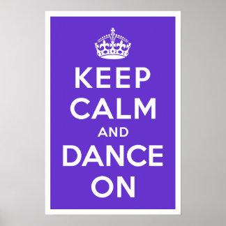 Guarde la calma y baile encendido póster