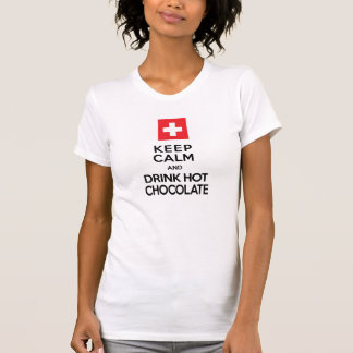 Guarde la calma y beba el zen del suizo del chocol camiseta