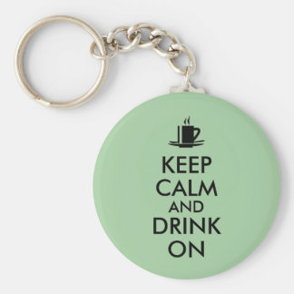 Guarde la calma y beba en personalizable del té llavero redondo tipo pin
