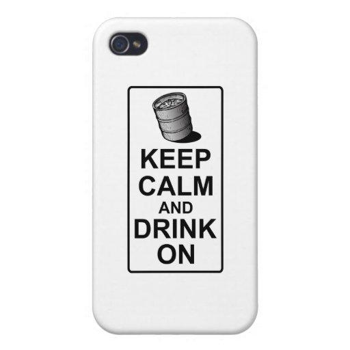 Guarde la calma y beba encendido - la parodia brit iPhone 4/4S carcasas