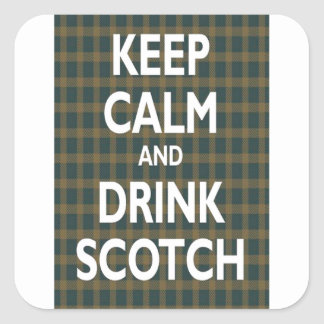 Guarde la calma y beba escocés pegatina cuadrada