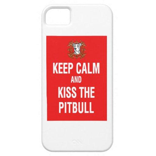 Guarde la calma y bese el Pitbull iPhone 5 Carcasa
